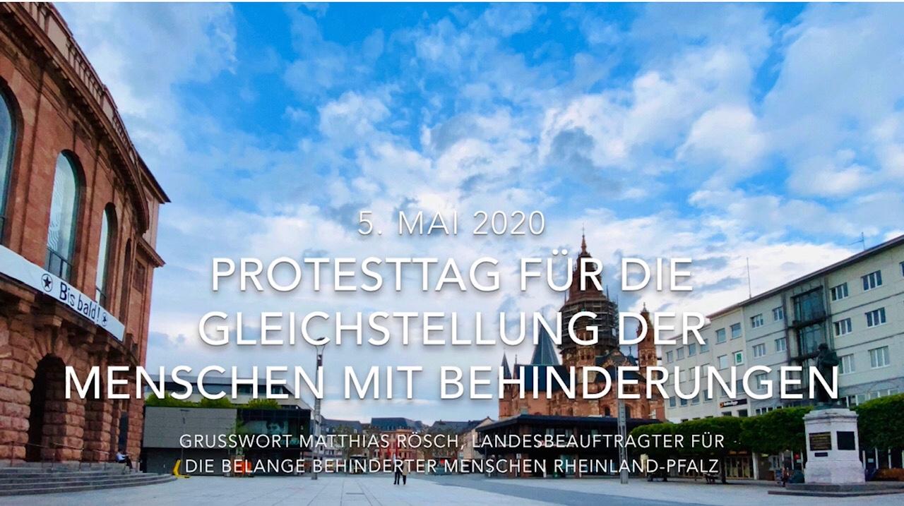 Screenshot des Startbildes der Videobotschaft zum Protesttag am 5. Mai 2020. Titel des Videos vor dem Hintergrund des Gutenbergplatzes mit Theater und Dom in Mainz